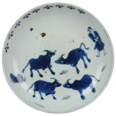 Antique Chinese circa 1600-1640 C Porcelain China Plate Cows and Shepperd