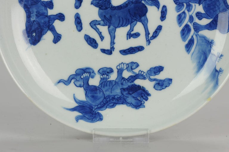 Antique Chinese circa 1600 Porcelain China Plate Marked Base Animals Tiger For Sale 6