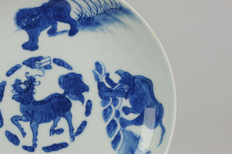 Antique Chinese circa 1600 Porcelain China Plate Marked Base Animals Tiger For Sale 8