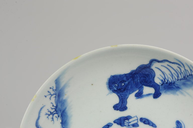 Antique Chinese circa 1600 Porcelain China Plate Marked Base Animals Tiger For Sale 11