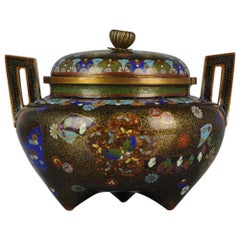 Antique Chinese circa 1900 Colorful Flower Cloisonné Incense Burner Bronze