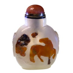 Antique Chinese Cameo Agate Snuff Bottle, Horse, Monkey & Bee