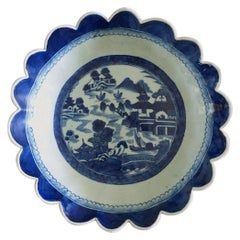 Antique Chinese Canton Porcelain Blue and White Bowl
