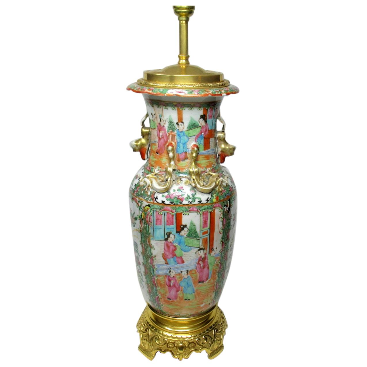 Antique Chinese Cantonese Famille Rose Hand Painted Porcelain Table Lamp Ormolu