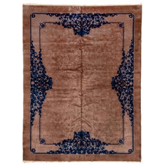 Antique Chinese Carpet, Light Brown Field, Blue Borders