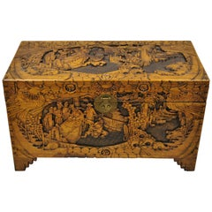 Antique Chinese Carved Camphor Wood Figural Trunk Blanket Hope Chest
