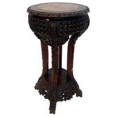 Antique Chinese Carved Hardwood Flower Stands Marble-Top Insert