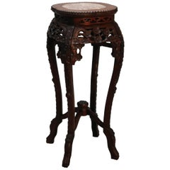 Antique Chinese Carved Hardwood & Marble Fern Stand, Circa 1900