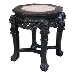 Antique Chinese Carved Hardwood Marble-Top Plant Stand, Circa 1920