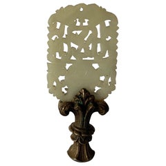Antique Chinese Carved Jade and Brass Lamp Finial