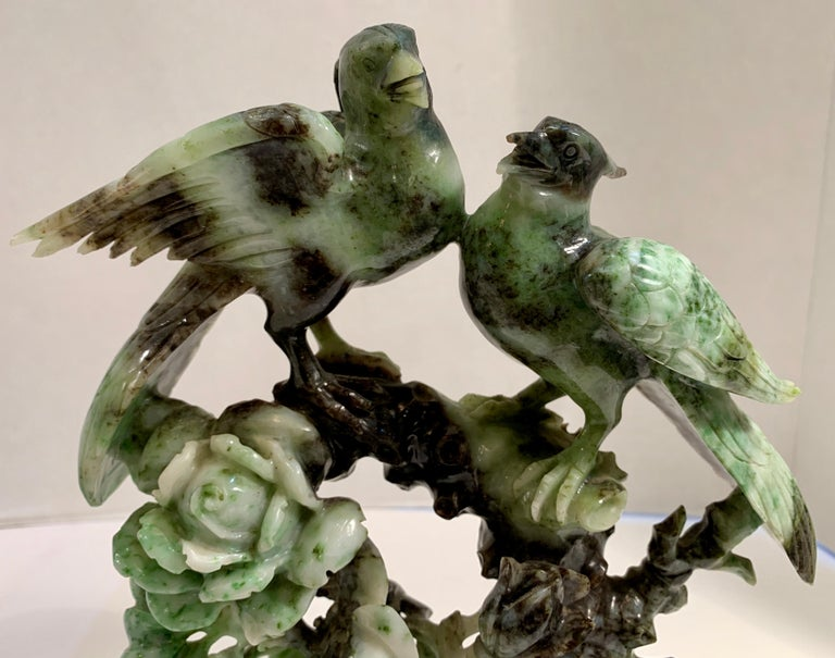 Chinese Carved Mottled Stone Birds and Flowers Sculpture on Rosewood Base For Sale 4