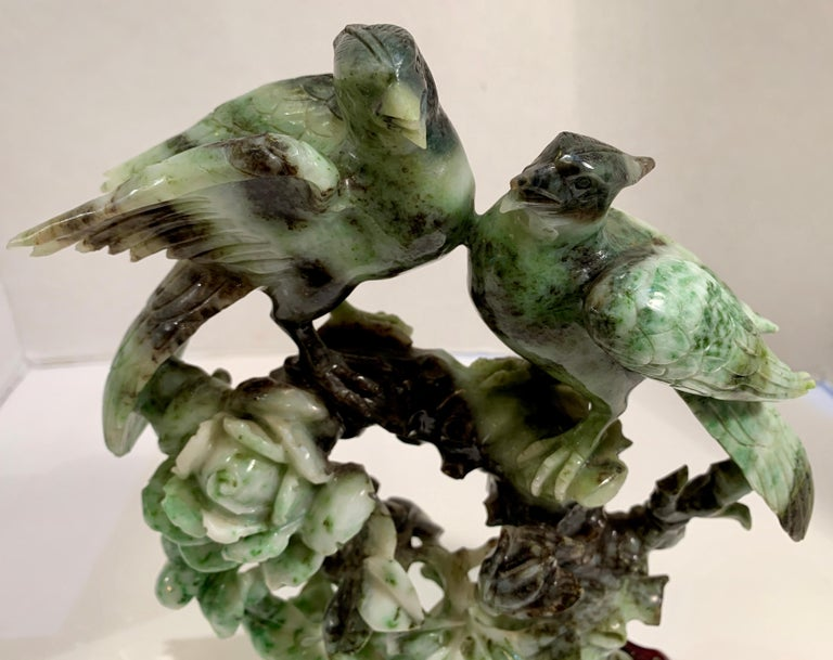 Chinese Carved Mottled Stone Birds and Flowers Sculpture on Rosewood Base For Sale 5