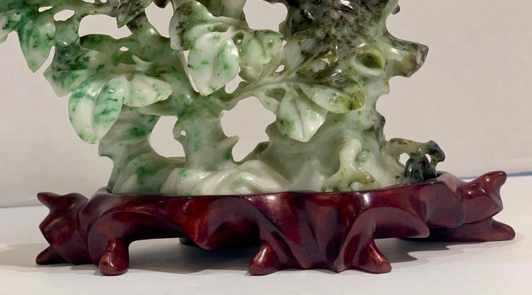 Chinese Carved Mottled Stone Birds and Flowers Sculpture on Rosewood Base For Sale 6