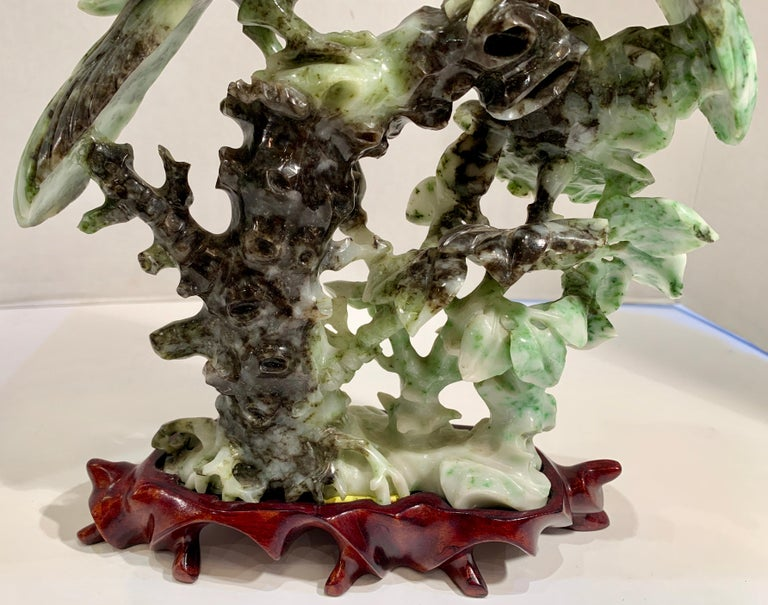 Chinese Carved Mottled Stone Birds and Flowers Sculpture on Rosewood Base For Sale 9