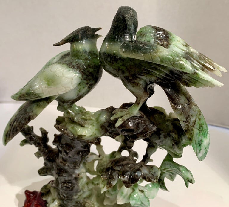 Chinese Carved Mottled Stone Birds and Flowers Sculpture on Rosewood Base For Sale 10