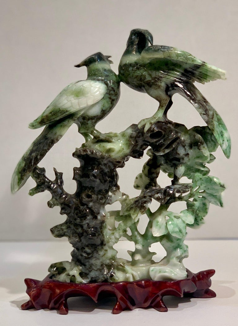 Chinese Carved Mottled Stone Birds and Flowers Sculpture on Rosewood Base In Good Condition For Sale In Tustin, CA