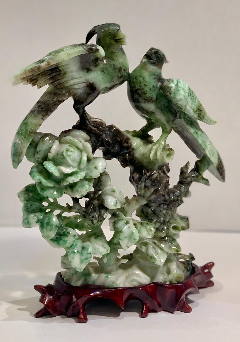Chinese Carved Mottled Stone Birds and Flowers Sculpture on Rosewood Base For Sale 1