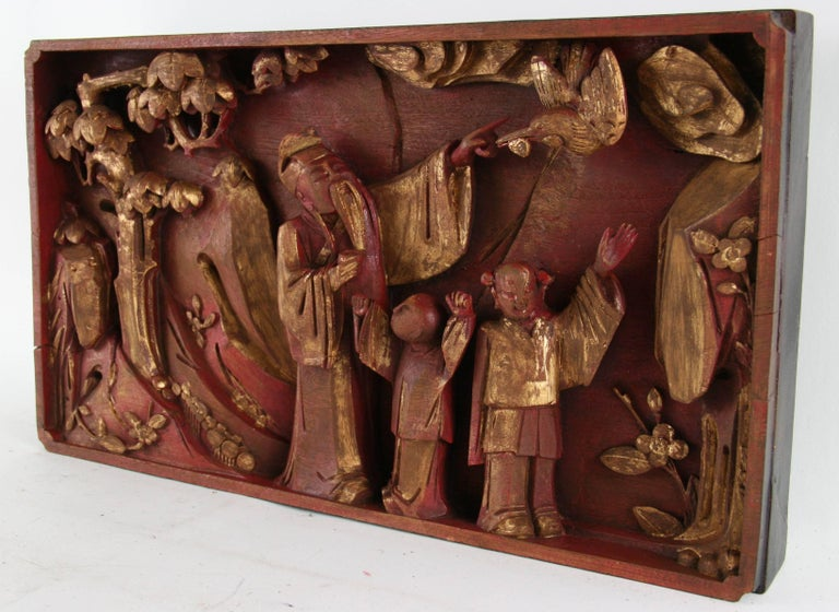 19th Century Antique Chinese Carved Relief For Sale