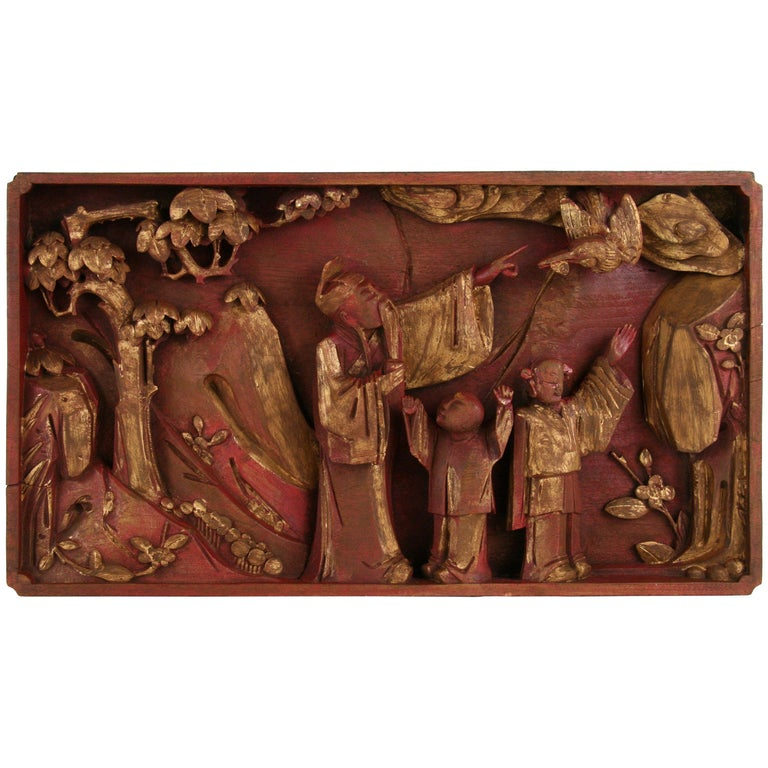 Antique Chinese Carved Relief For Sale