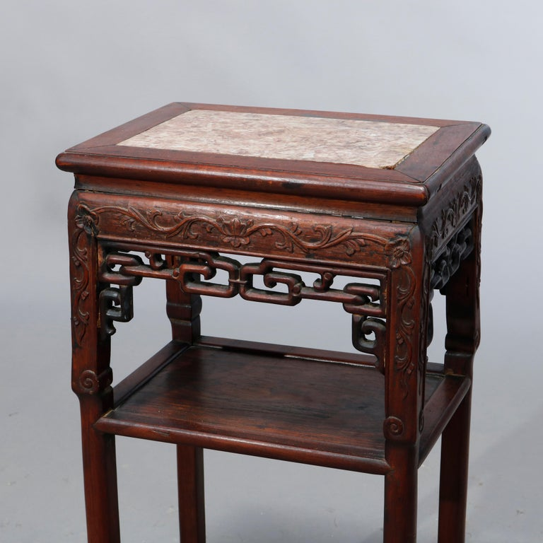 Antique Chinese Carved Rosewood & Marble Plant Stand, 19th Century In Good Condition For Sale In Big Flats, NY