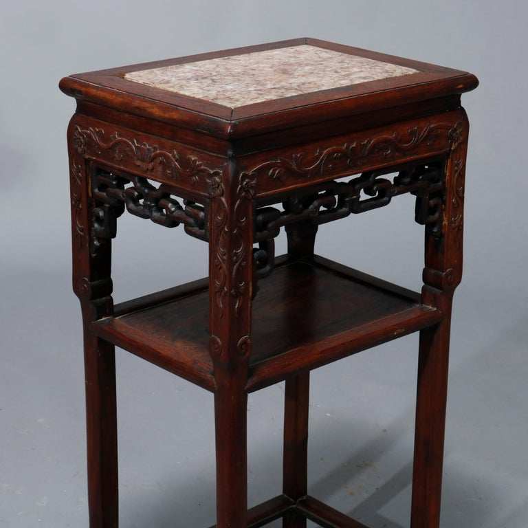 Wood Antique Chinese Carved Rosewood & Marble Plant Stand, 19th Century For Sale
