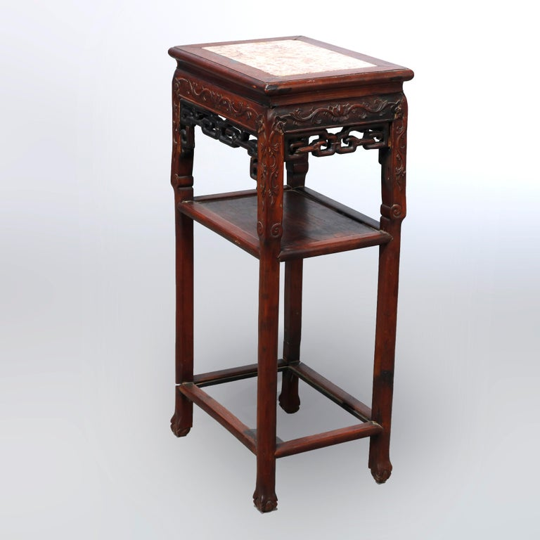 Antique Chinese Carved Rosewood & Marble Plant Stand, 19th Century For Sale 1