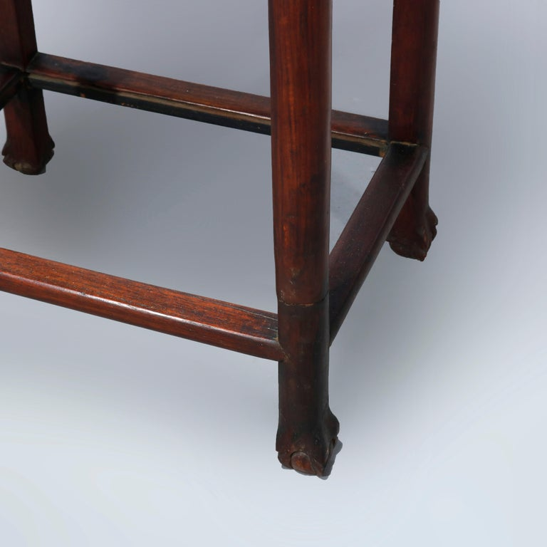Antique Chinese Carved Rosewood & Marble Plant Stand, 19th Century For Sale 3