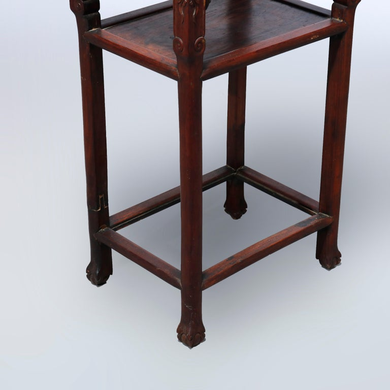 Antique Chinese Carved Rosewood & Marble Plant Stand, 19th Century For Sale 4