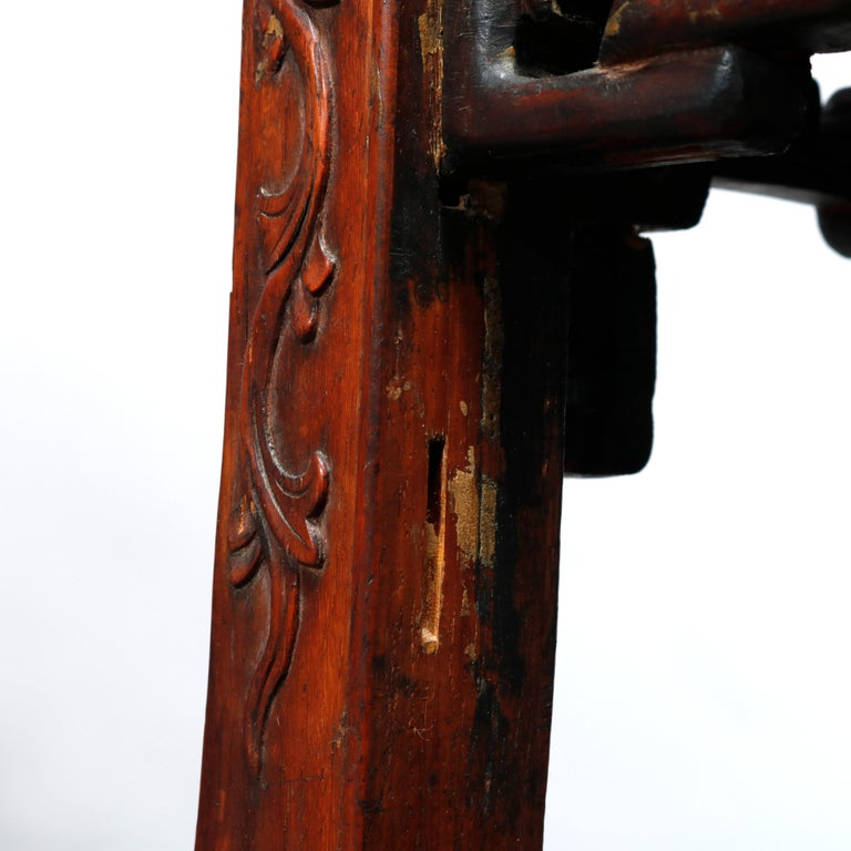 Antique Chinese Carved Rosewood & Marble Plant Stand, 19th Century For Sale 5