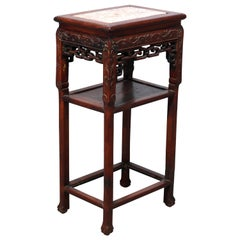 Antique Chinese Carved Rosewood & Marble Plant Stand, 19th Century