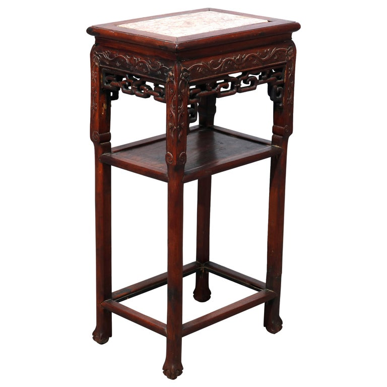 Antique Chinese Carved Rosewood & Marble Plant Stand, 19th Century For Sale