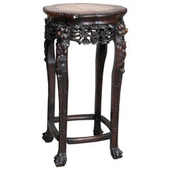 Antique Chinese Carved Rosewood Marble-Top Plant Stand, circa 1900