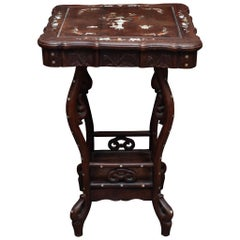Antique Chinese Carved Wood Table with Mother of Pearl Inlay
