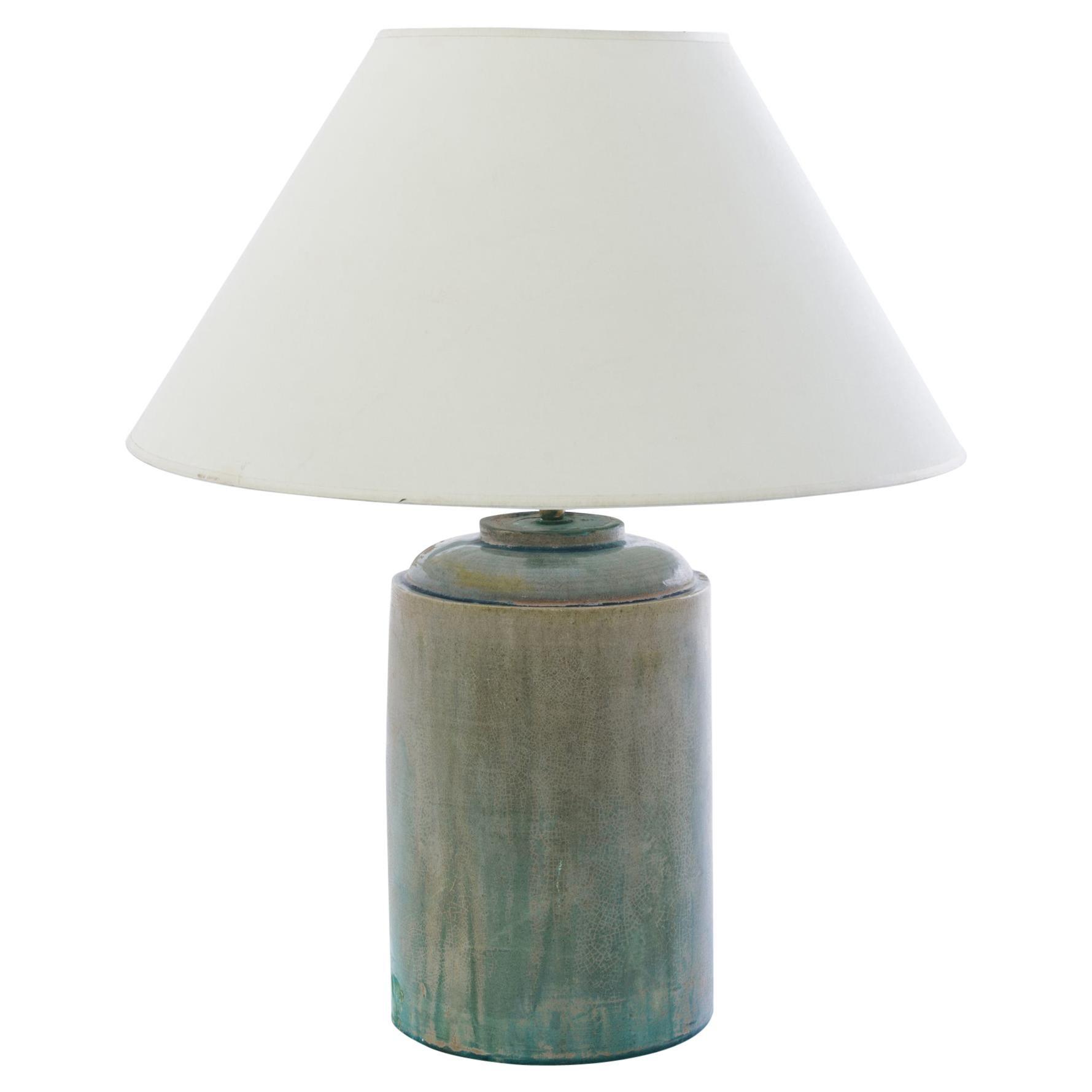 Antique Chinese Celadon Crackle Ceramic Vase Table Lamp