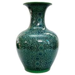 Antique Chinese Celadon Porcelain Persian Floral Decorated Floor Vase
