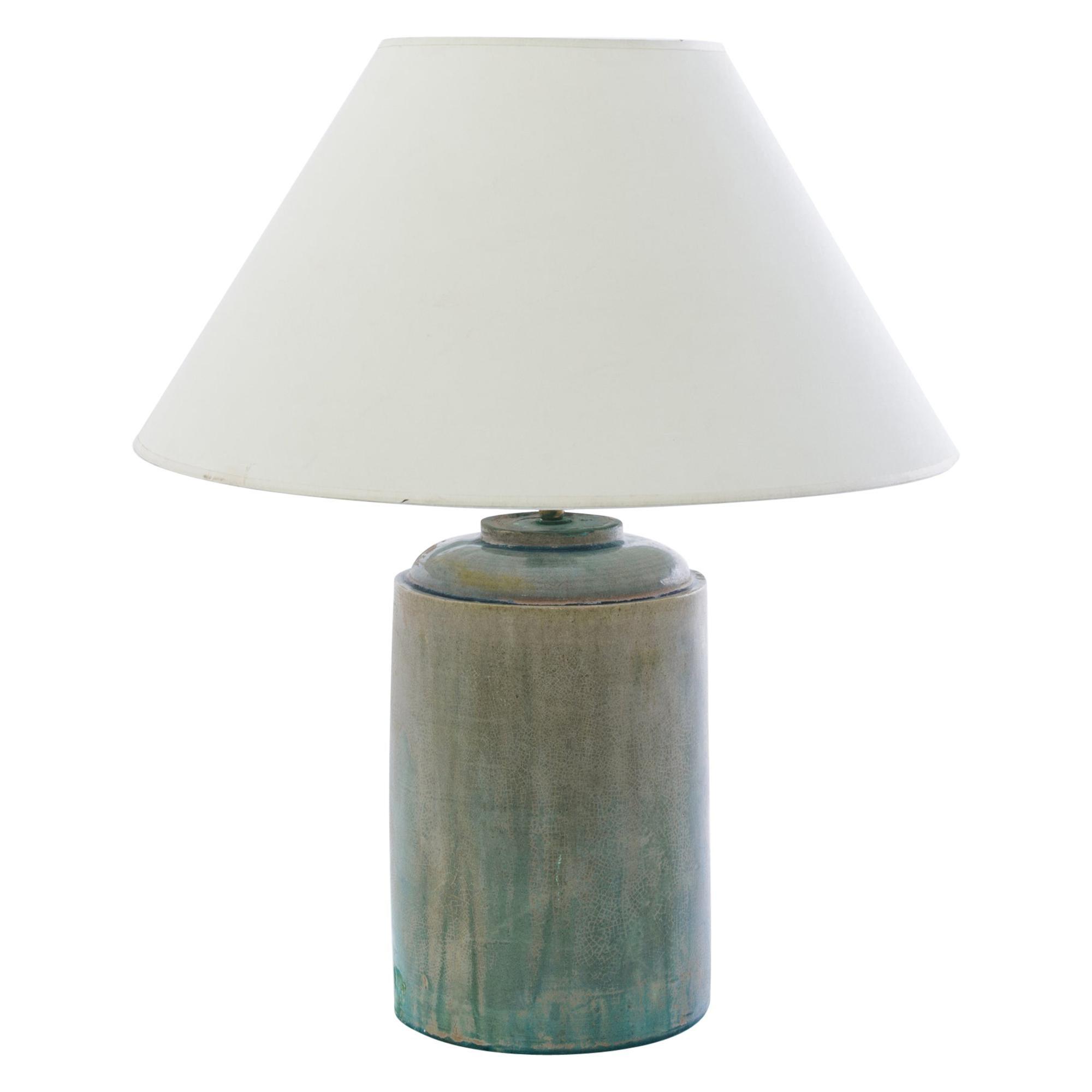 Antique Chinese Celadon Sunset Ceramic Vase Table Lamp