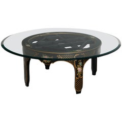 Antique Chinese Chinoiserie Decorated Ebonized Glass Top Low Table