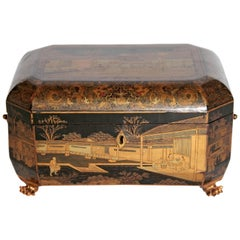 Antique Chinese Chinoiserie Sewing / Work Box