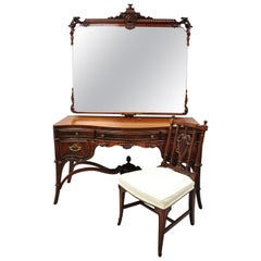 Antique Chinese Chippendale Carved Flame Mahogany Vanity Pagoda Mirror Chair Set
