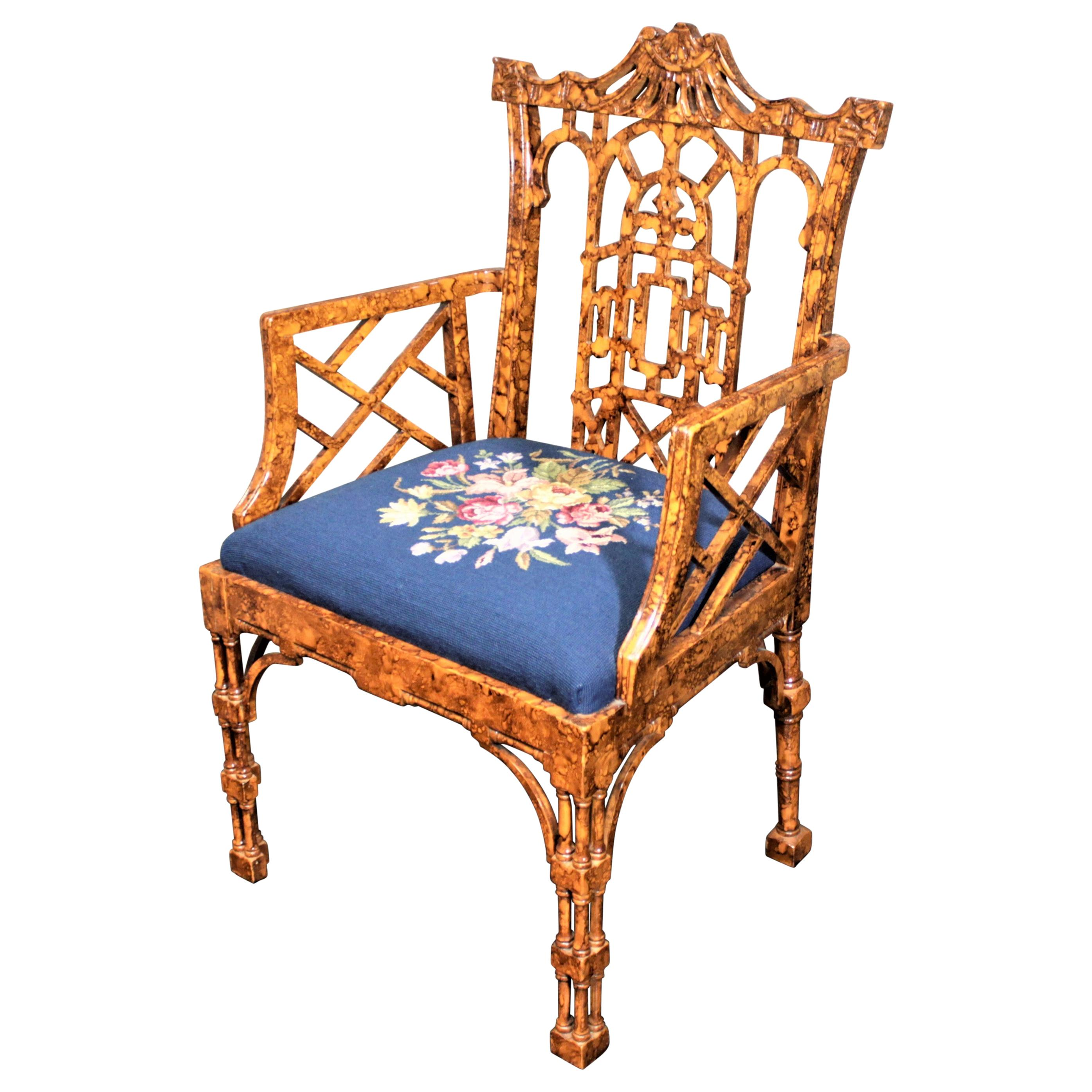 Antique Chinese Chippendale or Boho Styled Faux Bamboo Accent or Side Chair