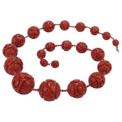 Antique Chinese Cinnabar Graduated Beaded Necklace with Large Beads