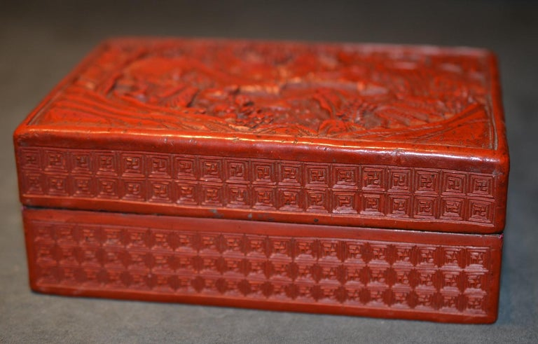 Victorian Antique Chinese Cinnabar Lacquer Rectangular Box and Cover For Sale
