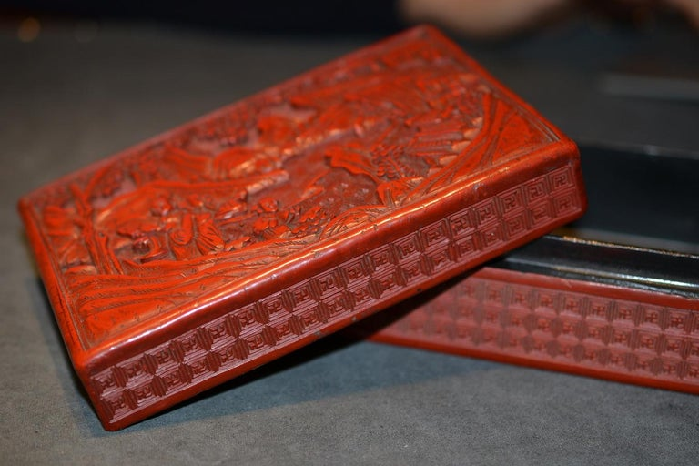 Carved Antique Chinese Cinnabar Lacquer Rectangular Box and Cover For Sale
