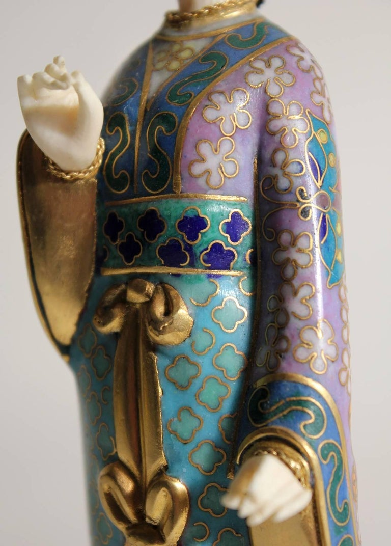Antique Chinese Cloisonne Enameled Carved Guanyin Quan Yin Sculpture Figurine For Sale 4