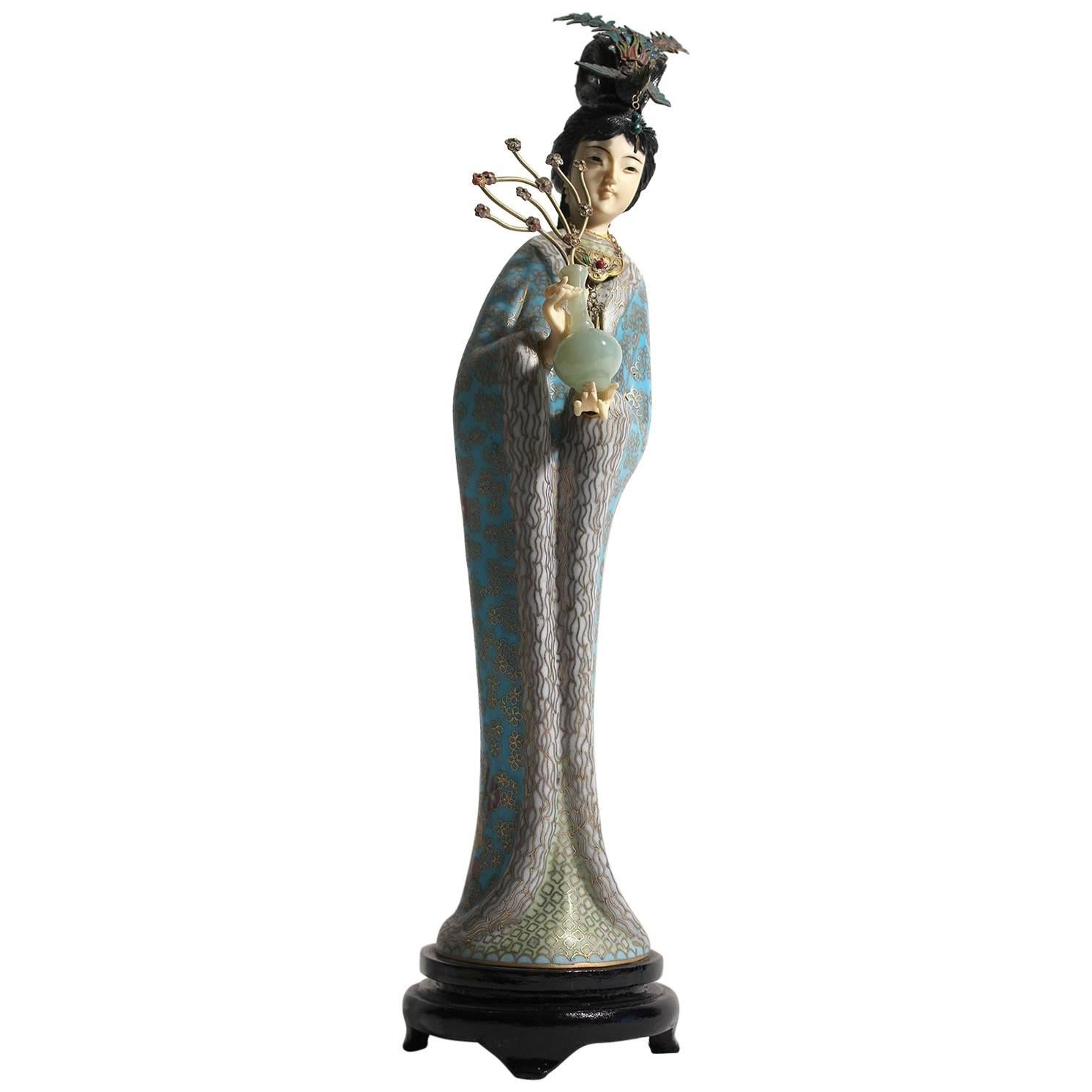 Antique Chinese Cloisonné Enameled Carved Guanyin Quan Yin Sculpture Figurine