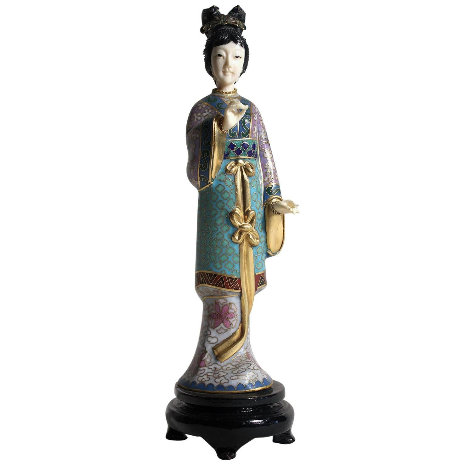 Antique Chinese Cloisonne Enameled Carved Guanyin Quan Yin Sculpture Figurine