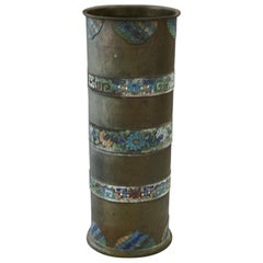 Antique Chinese Cloisonné Hand Enameled Bronze Umbrella Stand, 19th Century