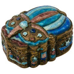 Antique Chinese Cloisonné Scarab Jewelry Box