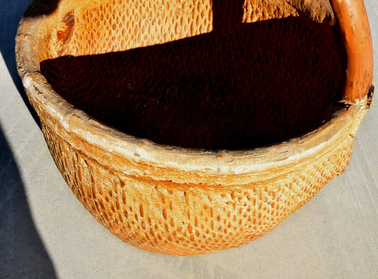 Antique Chinese Country Willow Basket, with Tree Branch Handle and Iron Brackets For Sale 13