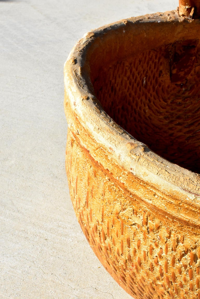 Antique Chinese Country Willow Basket, with Tree Branch Handle and Iron Brackets For Sale 3